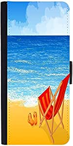 Snoogg Tropical Beach Vector Background Graphic Snap On Hard Back Leather + P...