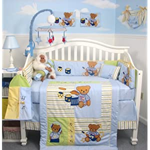 Teddy bear crib bedding tktb for Rock n roll baby crib set