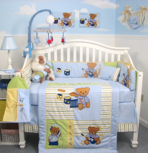 SoHo Rock N Roll Teddy Bear Crib Nursery Bedding Set 10 Pieces