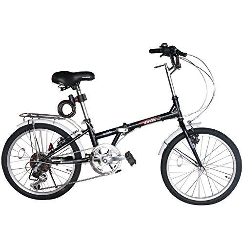 SHINE WOOD(シャインウッド)20インチシマノ6段折りたたみ自転車 コイルワイヤー錠(ブラック)