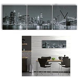 3 teilige leinwandbilder mit wanduhr aufh nge fertig kunstdruck nyc new york city skyline day. Black Bedroom Furniture Sets. Home Design Ideas