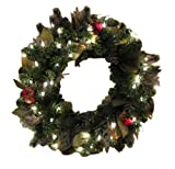 GKI Bethlehem Lighting  24-Inch Canterbury Christmas Christmas Wreath with 50 Clear Mini