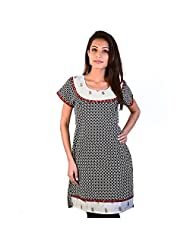 Jaipur RagaBlock Designer Black-White Ethnic Cotton Top Rajasthani Kurti