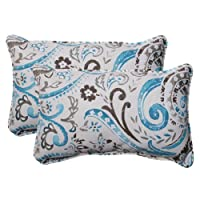 Pillow Perfect Indoor/Outdoor Paisley Corded Rectangular Throw Pillow, Tidepool, Set of 2 from Pillow Perfect