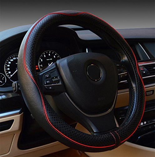 Rueesh Steering Wheel Cover - Genuine Leather, Heavy Duty, Thick, Elegant, Anti-Slip, 15 inch Middle Size - Black & Red Line (Leather Red Steering Wheel Cover compare prices)