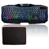 MFTEK USB Verdrahtete LED Regenbogen Hintergrundbeleuchtung Licht Illuminated Gaming Tastatur