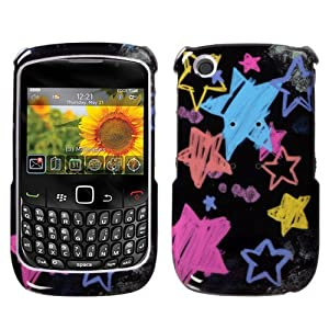 Chalkboard Star Black Phone Protector Faceplate Cover For RIM BLACKBERRY 8520(Curve), 8530(Curve), 9300(Curve 3G), 9330(Curve 3G)