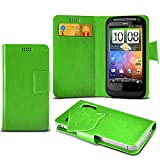 (Green) HTC Salsa Super Thin Faux Leather Suction Pad Wallet Case Cover Skin With Credit/Debit Card Slots By Spyrox