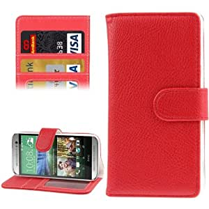Litchi Texture Flip Leather Case with Card Slots & Holder for HTC One / M8 Mini (Red)