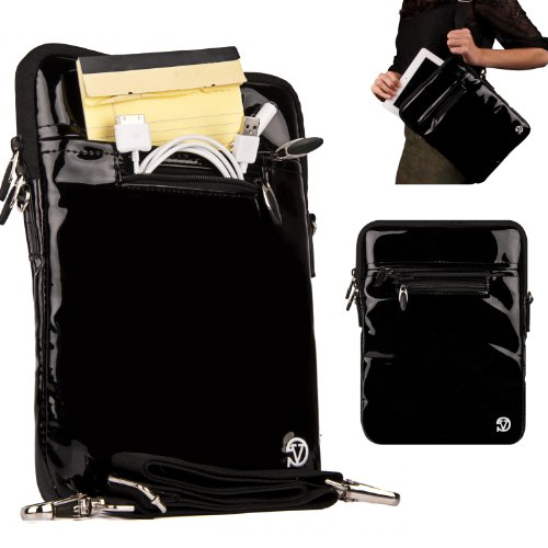 Black Luxury Non-Scratch Extra Padded Material With Soft Suede Lining And Reinforced Patent Leather Walls, Design Slim Compact Protective With Accessories Compartment ( Best Selling Carrying Case Sleeve Cover Shoulder Messenger Bag ) For Netbook Navigator