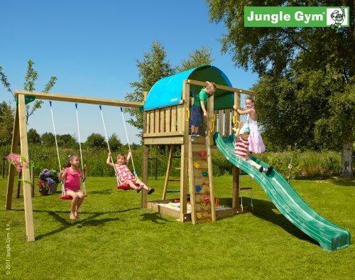 Spielturm Jungle Gym Villa Lärchenhol/Douglasienholz inkl. Anbauschaukel und 3 Meter Rutsche apfelgrün