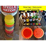 6 BREW CAPS #1 Brew Cap in USA Silicone bottle caps Ideal Stocking Stuffer -Not Made to withstand excessive movement with carbonated drinks Try our New Brew Stopper if your drinks will be rattled