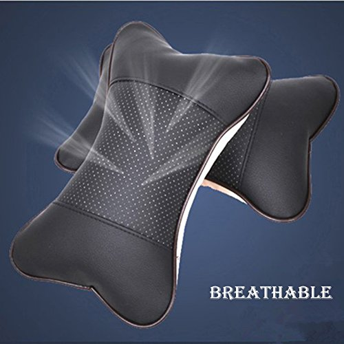 [Pack of 2] Car Neck Pillow , JELEGANT Breathable Auto Head Neck Rest Cushion Relax Neck Support Headrest Comfortable Soft Pillows for Travel Car Seat & Home [Black]