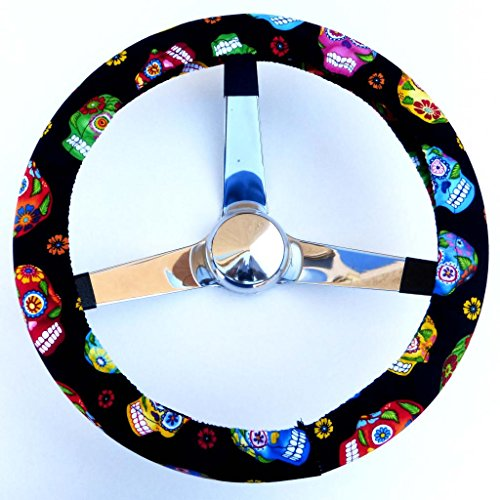 Mana Trading Handmade Steering Wheel Cover Tossed Sugar Skulls (Steering Wheel Cover Sugar Skull compare prices)