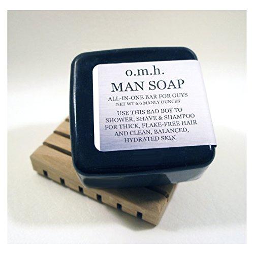 O.M.H. Man Soap 3-Pack - Multi-Action Shave/Shower/Shampoo Bar For Men (6.6 Oz Each Bar)