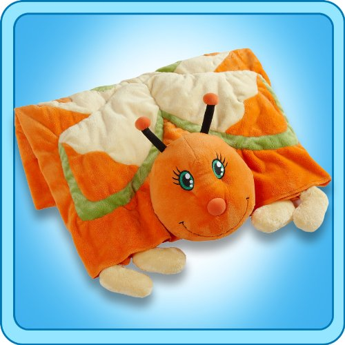 Genuine Ultra Soft My Pillow Pet ORANGE BUTTERFLY BLANKET - 1