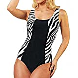 One Piece Women's Swimsuit Slimming Fit - Zebra: Black Plain And Striped on the hips. Noir + motif zébré Large