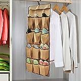 MKOOL Multi-purpose Hanging Shoe Storage Wardrobe Over-the-Door Shoe Organizer,2 Set(Brown)