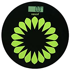 Venus Black Round Personal Electronic Digital LCD Weight Machine Body Fitness Weighing Bathroom Scale Weight Machine