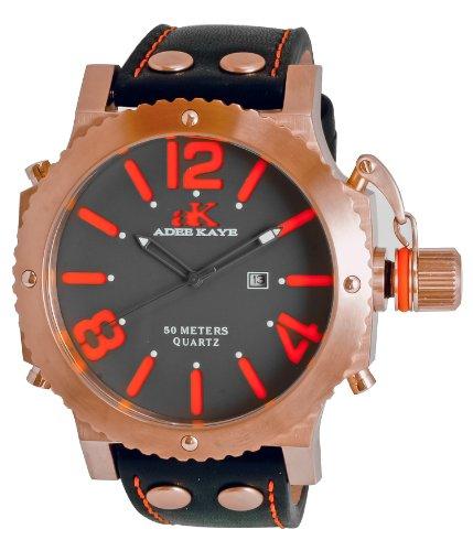 Adee Kaye Mondo G2 ak7211-MRG 63.32x53.24mm Stainless Steel Case Black Calfskin Mineral Men's Watch