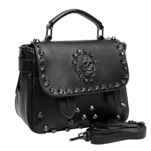 MG Collection Ming Gothic Skull Studded Structured Shoulder Bag, Black, One Size