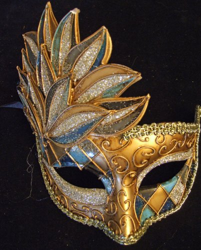 Harlequin Mask Halloween Blue and Silver Cascade Mardi Gras Masquerade Costume Party