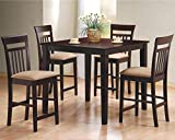 5pc Square Espresso Counter Height Storage Dining Table & Chair Set 150041 thumbnail