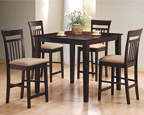 5pc Square Espresso Counter Height Storage Dining Table & Chair Set 150041 image
