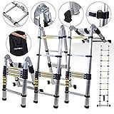 Craft Worx Aluminium Telescopic Folding Ladder and Carry Case Available in Various Sizes Multi-Purpose Ladder Step Aluminum Ladder