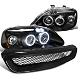 Honda Civic Black Led Halo Projector Headlights, Type R Style Grill