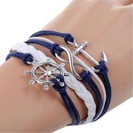 Bracciale infinito ancora timone pendenti argento nastro corda blu bianco portafortuna cordino regolabile stile marinaro