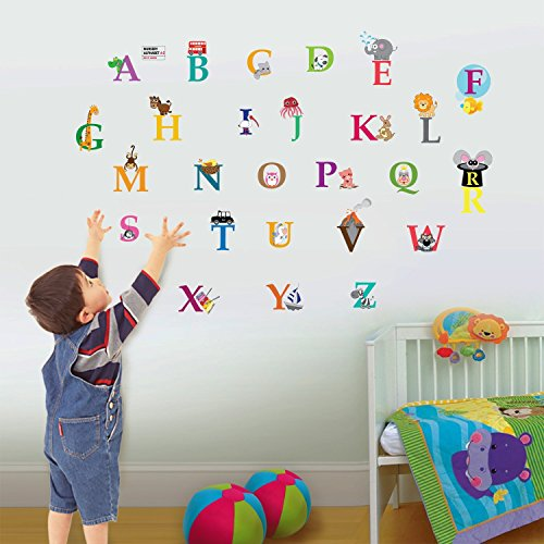 Walplus Kids Cute Alphabet London Wall Stickers Paper, 26 Separate Letters , 1 X 30Cm X 60Cm, Pvc, Removable ,Multi-Color - 1