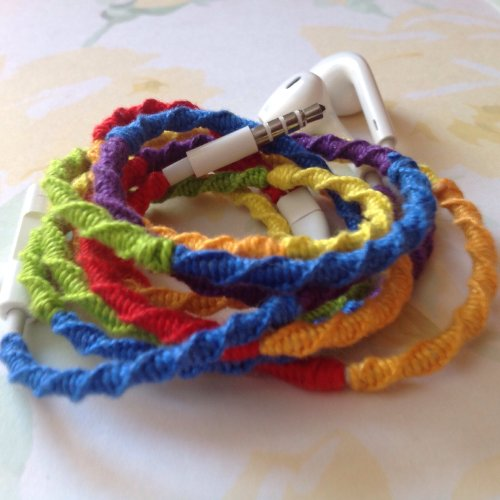 Mybuds Tangle Free Headphones W/Mic Rainbow For Iphone