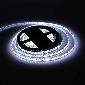 E-Goal 16.4FT 5M SMD 3528 Waterproof Double Density 600LEDs Cool White LED Flash Strip Light ,LED Flexible Ribbon Lighting Strip,12V from E-Goal