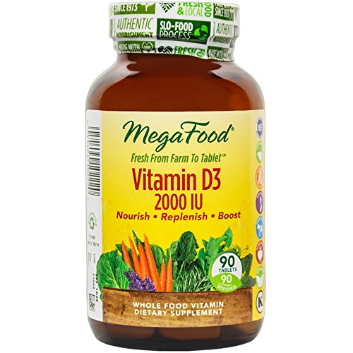 MegaFood - Vitamin D-3 2000 IU, Promotes Healthy Immune Function & Overall Well-being, 90 Tablets (FFP) (Food Based Vitamin D compare prices)