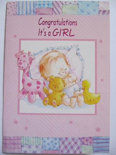 LOVELY COLOURFUL PINK BABY &ANIMALS CONGRATULATIONS ITS A GIRL GREETING CARD