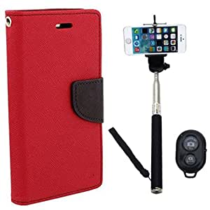 Aart Fancy Diary Card Wallet Flip Case Back Cover For Samsung 7262 - (Red) + Remote Aux Wired Fashionable Selfie Stick Compatible for all Mobiles Phones By Aart Store