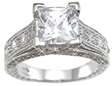 buy Sterling Silver Cubic Zirconia Cz Princess Cut Engagement Promise Ring Size 6