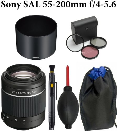 Sony SAL-55200-2 55-200mm f/4-5.6 DT AF Zoom Lens + Deluxe Carrying Case + Sony ALC-SH102 Lens Hood + Lens Pen Cleaning System + Super Rocket Air Blower + Professional Multi-Coated 3pc Essential Filter Kit + Cleaning Kit + Lens Cap Holder