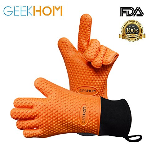 Heat Resistant Gloves BBQ Kitchen Silicone Oven Mitts, GEEKHOM Grilling Gloves