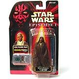 MACE WINDU WITH JEDI CLOAK & LIGHTSABER Star Wars Episode 1 Action Figure & COMMTECH CHIP