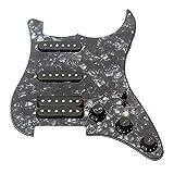 ammoon 3-ply SSH Loaded Prewired Humbucker Pickguard Pickups Set for Fender Strat ST Electric Guitar Black Pearl