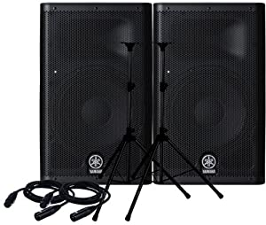 yamaha dxr12 speakers pair with speaker stands and cables mp3 players accessories. Black Bedroom Furniture Sets. Home Design Ideas