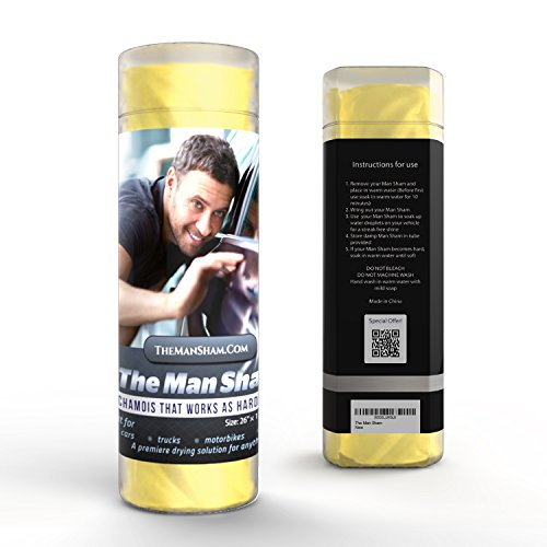 The Man Sham Chamois Cloth – Men's Gift – Ultimate Towel for Fast Drying of Your Car or Truck – Scratch and Lint Free Shine