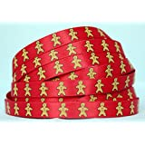 "Christmas Satin Ribbon Red with Gingerbread man Print - 5 Yard (4.57m) x 3/8"" (10mm)"