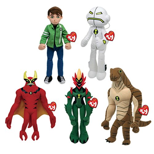 Ben 10 Ty Beanie Baby Soft Toy Set of 5 (Ben,Echo Echo,Humungasaur,Jet Ray,Swamp Fire)