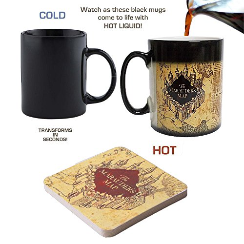 Mappa del Malandrino di Harry Potter color changing Magic Nero Sensibile al calore tazza da caffè con Free Coaster- perfetto/Pasqua/estate di San Valentino/Natale/Compleanno/Anniversario regalo