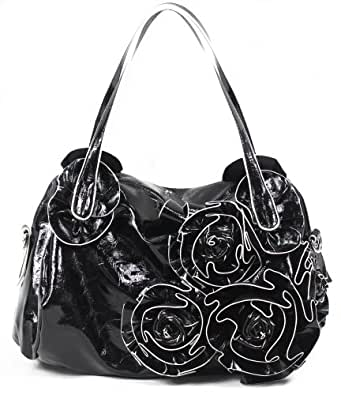 Kate Rose Pedal Shoulder Bag/ Handbag/ Satchel Bag, Glossy Black