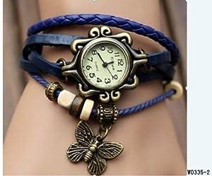 BeautyLife Weave Wrap Around Leather Bracelet Lady Woman Wrist Watch (Blue Butterfly)