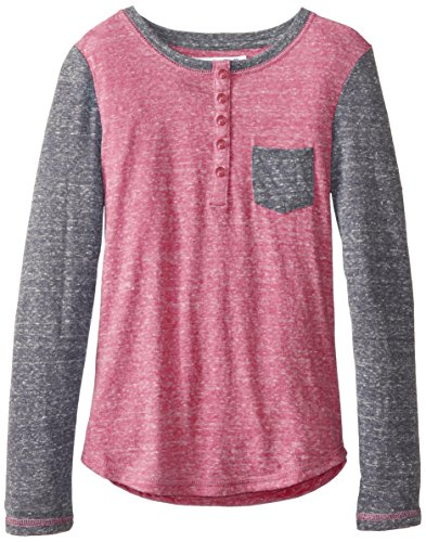 Derek Heart Big Girls' Henley With Elbow Patch, Hot Pink, Large front-557332